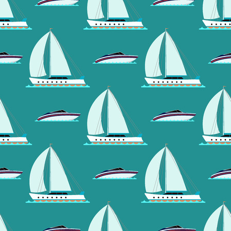 heavy industry: Ship cruiser boat sea repetitive pattern, vessel, travel industry, sailboats cruise, set of marine background. Illustration