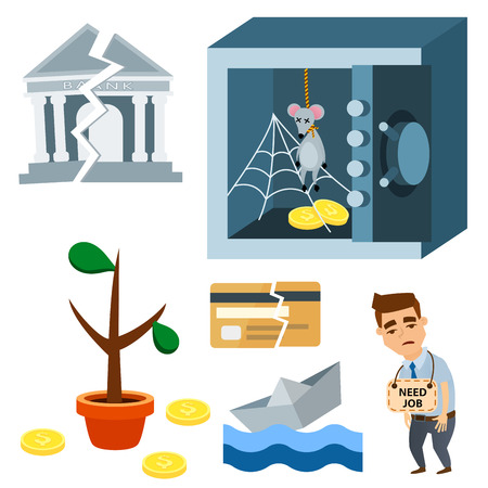 Unfortunate events symbols and concept; problem in economy, banking, business, finance design  illustration.