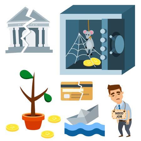 Unglückliche Ereignisse Symbole und Konzept; Problem in der Wirtschaft, Bankwesen, Geschäft, Finanzdesignillustration. Standard-Bild - 87569943
