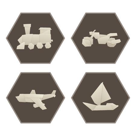 white sheet: Set of origami logistic paper, transport concept, in flat style, travel paper sheet, transportation  illustration.