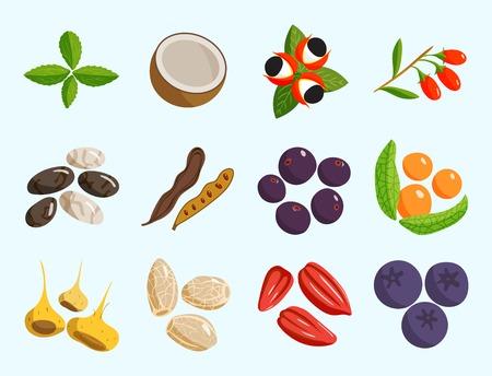 Vegetarische voedsel gezonde groente en fruit restaurant gerechten cartoon bessen vector.