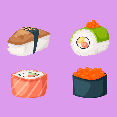 Sushi japanese cuisine traditional food flat healthy gourmet icons vector illustration. Illustration