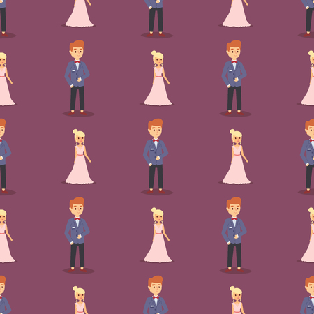 Wedding couple is hugging each other vector seamless pattern on violet background.