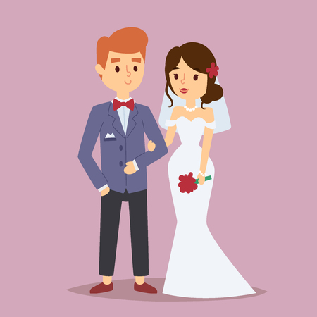Wedding couple vector beautiful model girl in white dress and man in suit bride illustration.