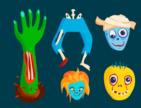 Colorful zombie scary cartoon character and body part vector illustration.