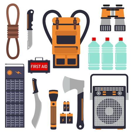 Berlebensnotfallausrüstung für Evakuierungsvektorgegenstände eingestellt. Standard-Bild - 87613062