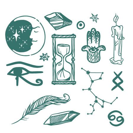 Trendy vector esoterische symbolen schets hand getekend.