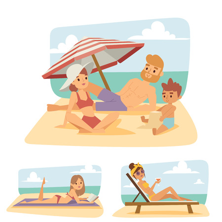 People on beach outdoors, summer lifestyle sunlight fun vacation happy time cartoon characters vector illustration.