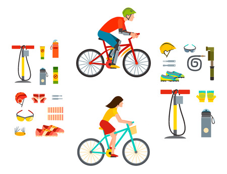 biking sport equipment illustration.