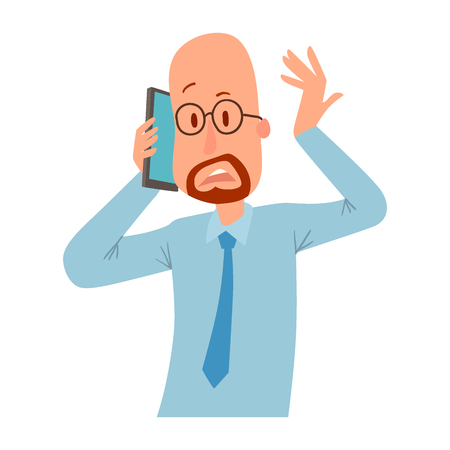 Successful professional man business people character talking his cell phone vector illustration