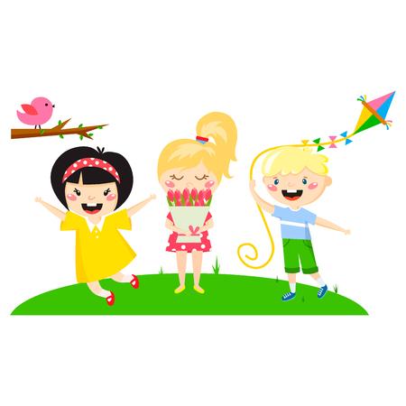 Kids play enjoy spring arrival warm summer vector illustration.