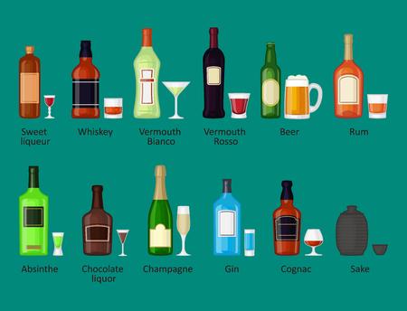 알코올 음료 음료 칵테일 위스키 병 라 게 다과 컨테이너 및 메뉴 술에 취해 개념 다른 안경 벡터 일러스트 레이 션. 레스토랑 테킬라 럼 파티 펍 코냑 일러스트