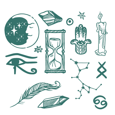 Trendy vector esoteric symbols sketch hand drawn. Religion philosophy spirituality occultism chemistry science magic esoteric symbols. Design tattoo element. Stock Vector - 87664244