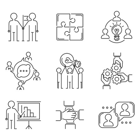 Business teamwork teambuilding thin line icons work command management outline human resources concept vector illustration Фото со стока
