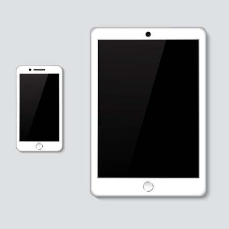 Realistic 3d tablet with blank screen isolated vector illustration digital technology phone mock-up top view blank Illustration