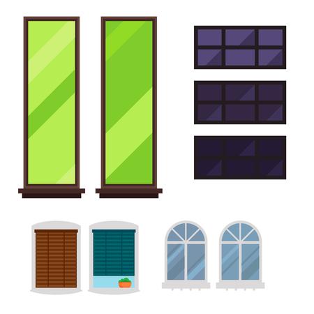 Different types house windows elements flat style glass frames construction decoration apartment vector illustration. Illustration