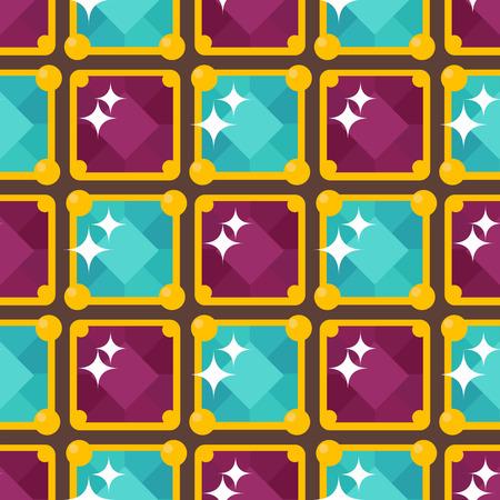 Set van vector sieraden items gouden naadloze patroon edelstenen kostbare accessoires modeartikelen vector illustratie. Schoonheid hanger symbool