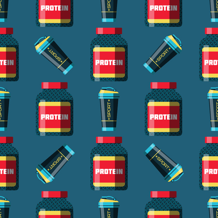 Sports nutrition seamless pattern background healthy food and fitness diet bodybuilding proteine power drink athletic supplement energy vector illustration. Carbohydrates dieting bottle.