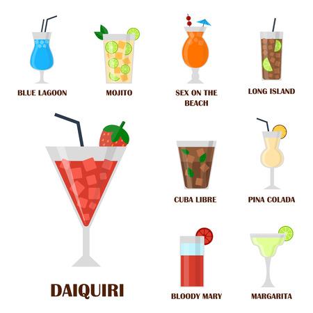 De alcohol drinkt van de de wiskybier van de drankencocktail de verfrissingcontainer en menu gedronken concept verschillende glazen vectorillustratie. Restaurant tequila rum feestcafé cognac.