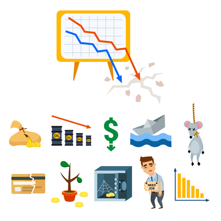 Crisis symbols concept problem economy banking business finance design investment icon vector illustration.