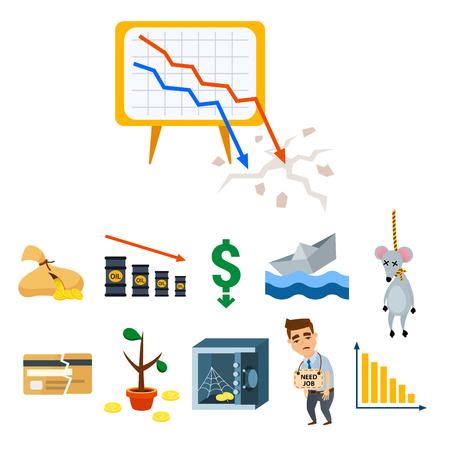 Krisensymbolkonzept-Problemwirtschaftsbankingfinanzfinanzdesign-Investitionsikonen-Vektorillustration. Standard-Bild - 87707631