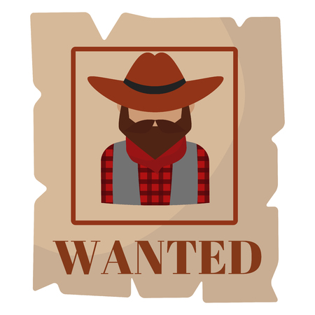 Most wanted man in hat poster concept grunge vector illustration.