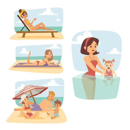 Leute auf Strand draußen, Sommerzeitlichtsonnenlichtspaßferien glückliche Zeitzeichentrickfilm-figur-Vektorillustration. Standard-Bild - 87707630