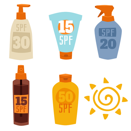 Cream sunscreen bottle isolated on white background vector icon sunblock cosmetic summer container tube packaging design.