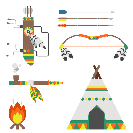 Wild west american indian designed element traditional art concept and native tribal ethnic feather culture vector illustration. Stock Vector - 87707634