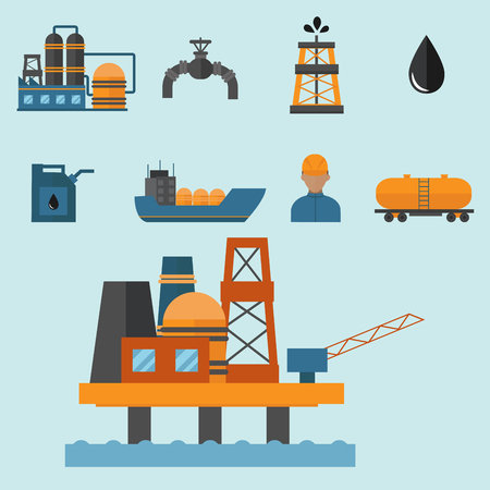 Mineral oil petroleum extraction production transportation factory logistic equipment vector icons illustration Imagens - 87707638