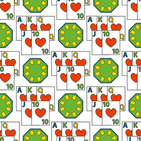 Casino game poker gambler symbols seamless pattern background blackjack winning roulette joker slotbvector illustration. Illustration