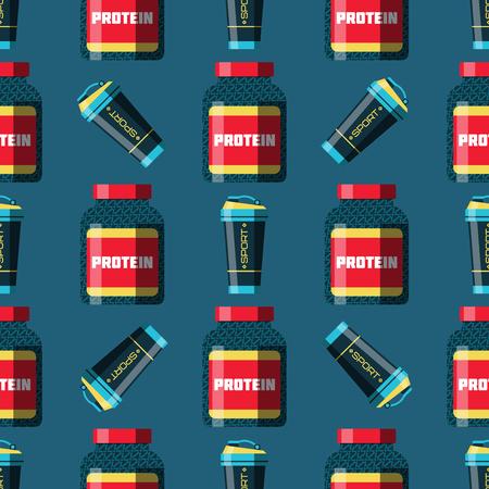 スポーツ栄養健康食品フィットネス ダイエット ボディービル proteine 電源飲み物運動サプリメント エネルギーのシームレスなパターン背景ベクトル