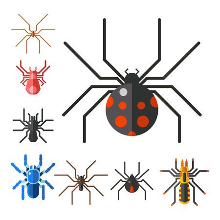 スパイダー web シルエット クモ恐怖グラフィック フラット怖い動物デザイン自然昆虫危険ホラー ハロウィン ベクトル アイコン。  イラスト・ベクター素材