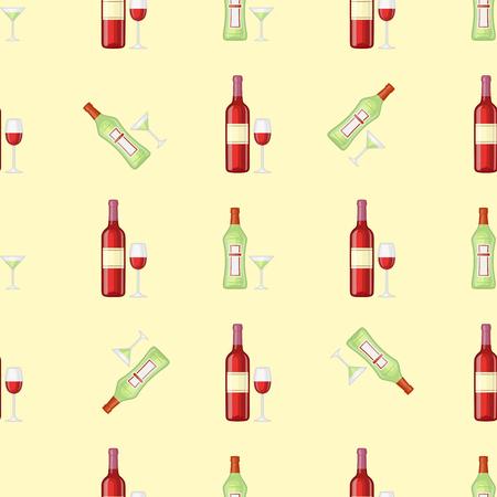 アルコールは、ピンクの背景のシームレスなパターン ベクトル図を飲みます。