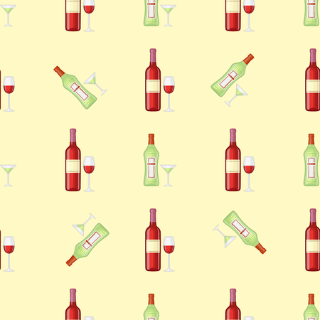 condensation: Alcohol drinks seamless pattern vector illustration on pink background.