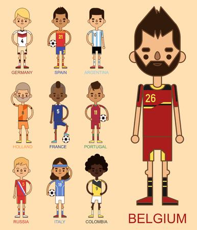 National Euro Cup soccer football teams vector illustration on pink background. Ilustração