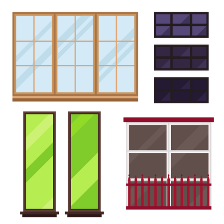Different types of house windows elements isolated set flat style vector illustration.