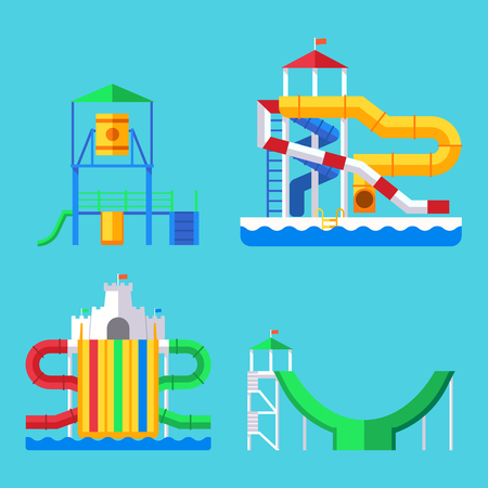 Water amusement aqua park playground with slides and splash pads for family vector illustration.