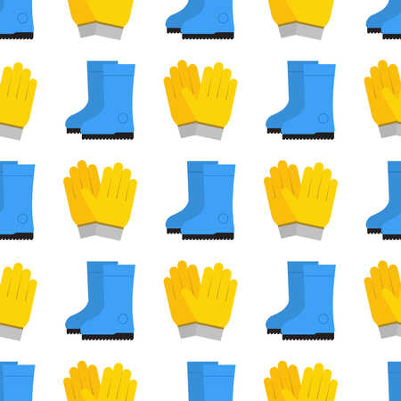 Yellow protection gloves for hygiene cleaning and wash work protection vector illustration. Illustration