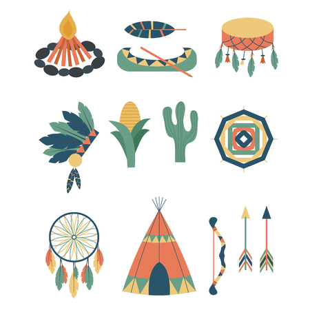 Indians tools icon and temple ornament and element vector illustration. Illustration