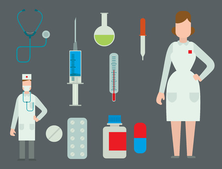 A medical staff with medical tool icon set vector illustration.