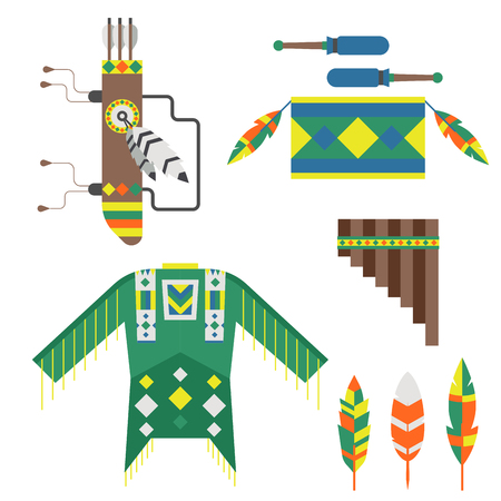 An American Indian designed art concept and native tribal ethnic feather vector illustration.