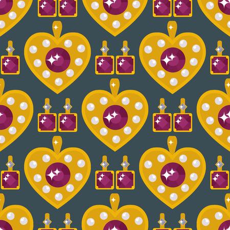 Conjunto de elementos de joyería vector oro corazón de patrones sin fisuras sobre fondo negro. Foto de archivo - 87744681