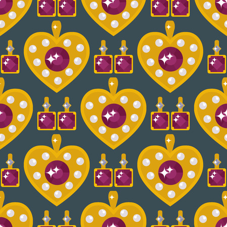 Set of vector jewelry items golden heart seamless pattern on black background.