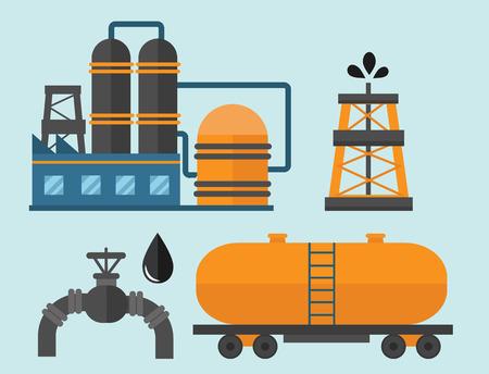 Minerale olie aardolie winning productie iconen vector illustratie.
