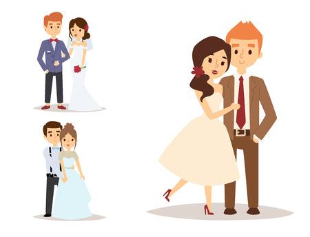 Schönes Modellmädchen des Hochzeitspaarevektors im weißen Kleid und im Mann in der Klagenbrautillustration. Standard-Bild - 87746145