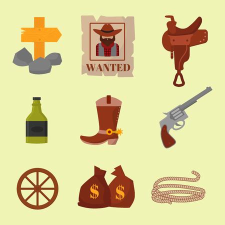 Vintage western cowboys vector signs american symbols vector illustration.