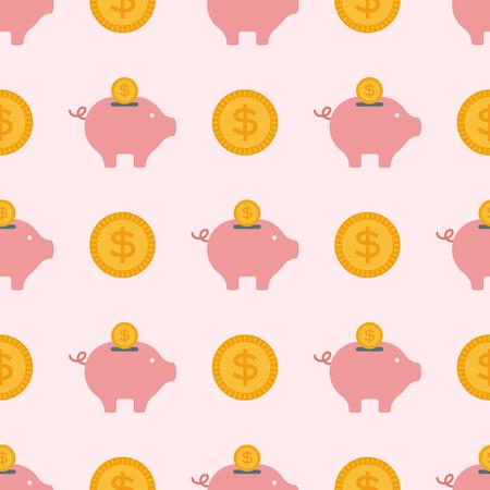 A vector save money piggy bank flat design seamless pattern illustration.