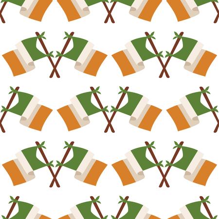 Irish flag vector illustration seamless pattern background. Illustration