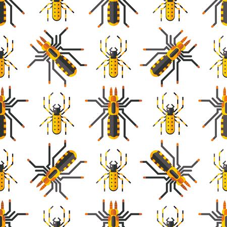 Spider web silhouet spinachtige angst naadloze patroon vectorillustratie. Stock Illustratie